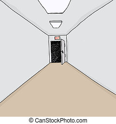 Exit Door in Hall - Cartoon hallway background with single...