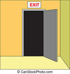 exit - opened door with sign EXIT above