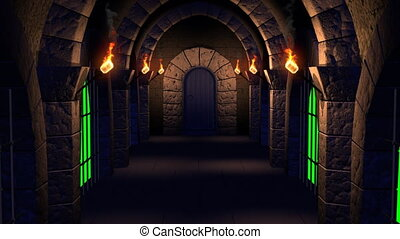 Render of movement along a dungeon with four flaming torches and jail to exit through an opening door to a green screen