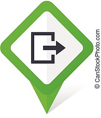 Exit green square pointer vector icon in eps 10 on white background with shadow.