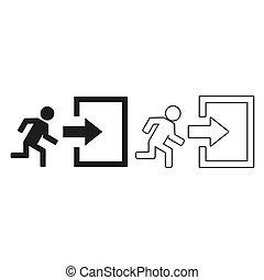 exit - green vector icon