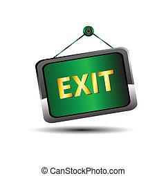 Exit icon label emergency green sig
