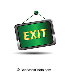 Exit icon label emergency green sig