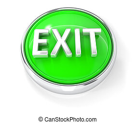 Exit icon on glossy green round button