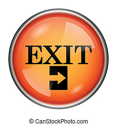 Exit icon - Round glossy icon with black design on orange ...