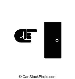 exit icon, vector illustration, black sign on isolated background