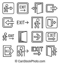 Exit Icons Set on White Background. Line Style Vector