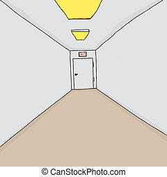 Exit in Corridor - Hand drawn cartoon hallway background...