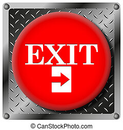 Exit metallic icon - Square icon with white design on red...