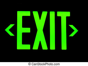 Green exit neon sign on black background