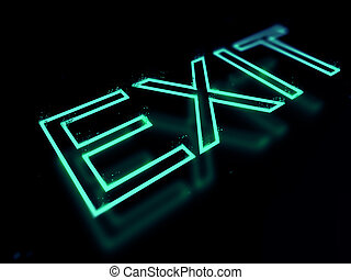 Exit neon sign isolated on black background