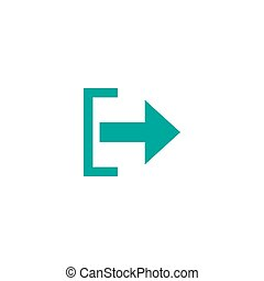 Exit or logout, log off icon. Isolated on white. blue right sharp arrow with bracket. Sign out icon. Profile, user sign. Arrow in box. quit, export, file, import, share