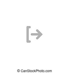 Exit or logout, log off icon. Isolated on white. grey rounded right rounded arrow with bracket. Sign out icon.