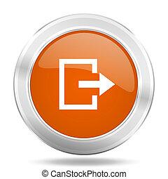 exit orange icon, metallic design internet button, web and mobile app illustration