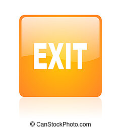 exit orange square glossy web icon