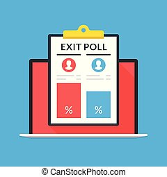 Exit poll results on laptop screen. Notebook and clipboard with exit poll data. Modern flat design graphic elements. Vector illustration