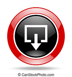 exit red and black web glossy round icon