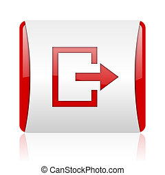 exit red and white square web glossy icon