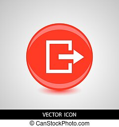 Exit red circle icon on gray background. Vector illustration