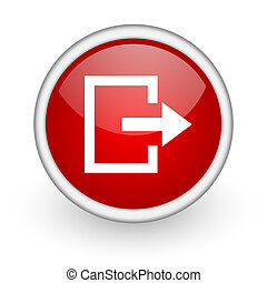 exit red circle web icon on white background