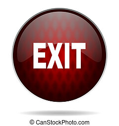 exit red glossy web icon on white background