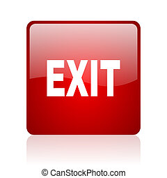 exit red square glossy web icon on white background