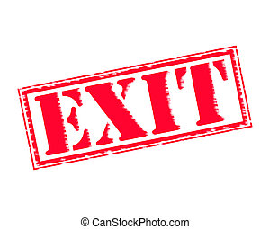 EXIT RED Stamp Text on white backgroud