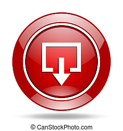 exit red web glossy round icon
