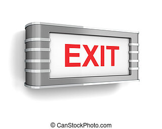 Exit sign. 3d illustration isolated on white background