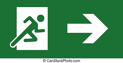 Exit Sign green emergency door on white