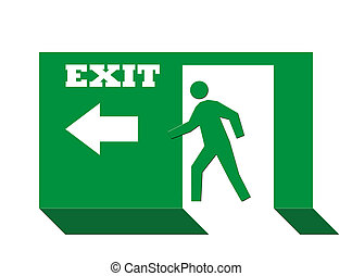 Exit sign - Person on green exit sign, isolated on white...