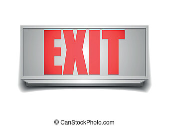 exit sign - detailed illustration of a white exit sign with...