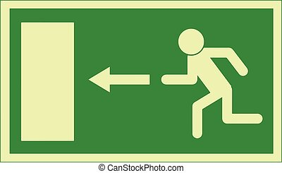 Exit sign. Emergency exit sign used in the European Union, indicating that the emergency escape route is to the left. The arrow can also be to the right, up (meaning straight on or up), and down (meaning straight on or down). Vector Format.
