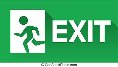 Exit sign - Green emergency exit sign, direction to left,...