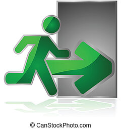 Exit sign - Glossy illustration showing an exit sign with a...
