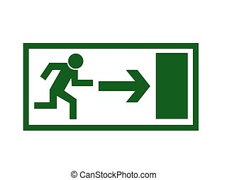 Exit sign - Simple green exit sign vector on white...