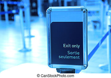 Exit sign in an airport