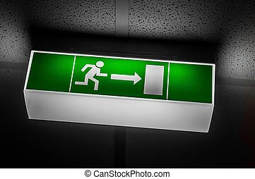 Exit sign in green