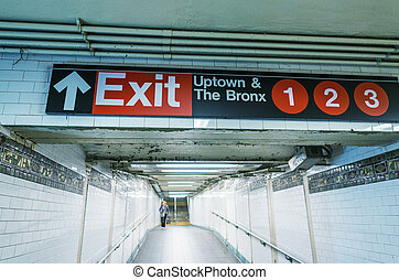 Exit sign in New York City subway