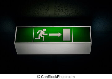 Exit sign in the dark