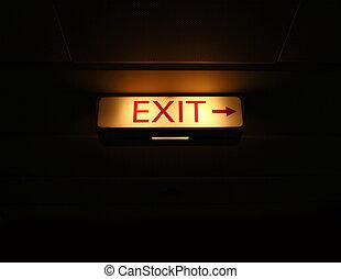 Exit sign on black background