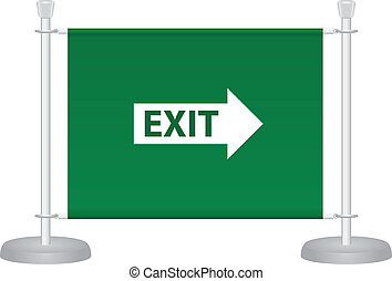 Exit sign on the barrier fabric placed on metal racks. ...