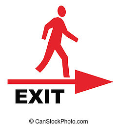 exit sign - white exit sign with person and arrow
