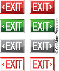 Exit sign - Detail illustrations of various exit signs...