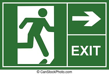 exit sign vector, exit signs, sign