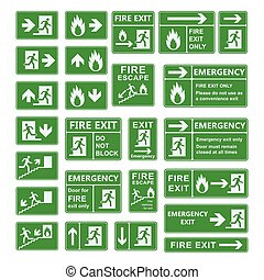 Exit sign vector set. - Set of emergency exit sign vector. ...