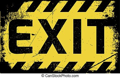Exit sign yellow with stripes, road sign variation. Bright ...