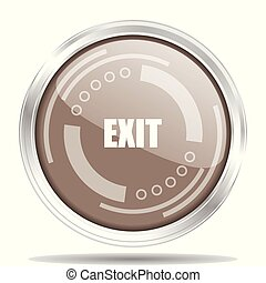 Exit silver metallic chrome border round web icon, vector illustration for webdesign and mobile applications isolated on white background