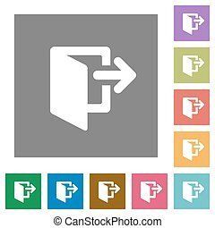Exit square flat icons