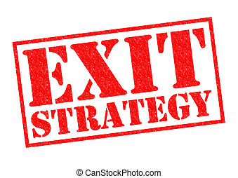 EXIT STRATEGY red Rubber Stamp over a white background.